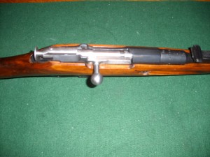 Top view of a bolt of a mosin  nagant with a hex receiver